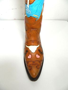 Custom Made Hand Tooled Skeleton Cowboy Boot Made To Order 17 Inches Tall Order Yours Now