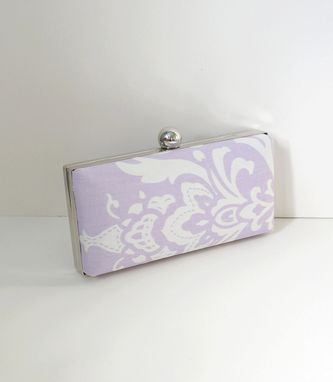 Custom Made Lavender Cotton Damask Clamshell Clutch Purse