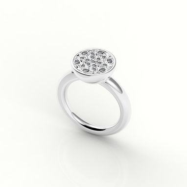 Custom Made Modern Diamond Cluster Ring
