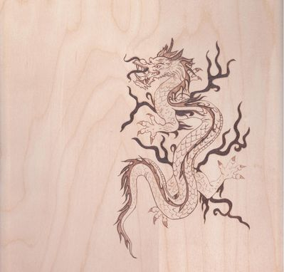 Custom Made Woodburn Pyrography Korean Dragon