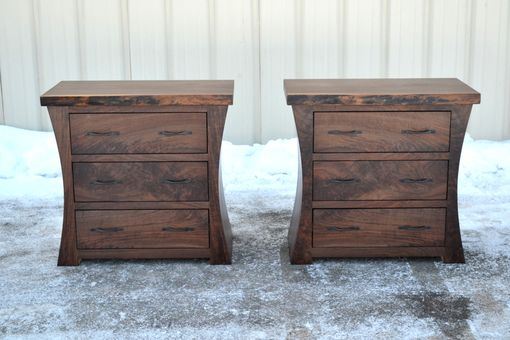 Custom Made Walnut Nightstands With Curved Sides