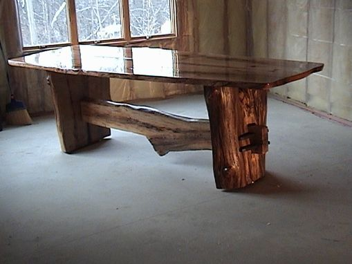 Custom White Oak Dining Table With Split Log Base