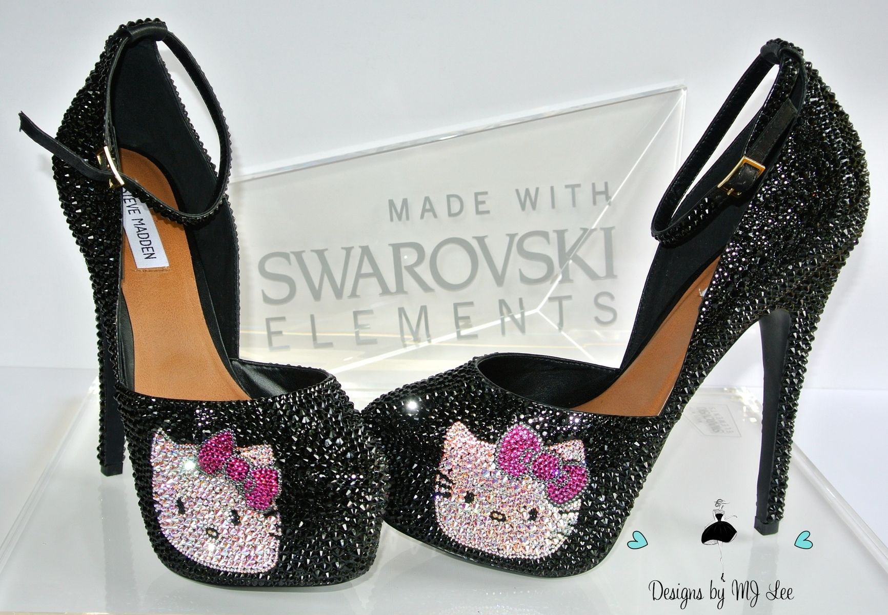 Custom Made Bling Black Strass Heels With Hello Kitty  b55d293223