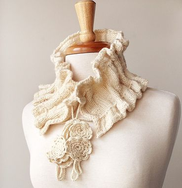 Custom Made Fiber Art Scarf - Hand-Knit Scarflette / Collar - Elegant, Romantic, Feminine