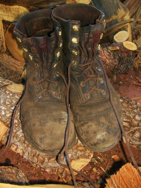 Custom Made Buffalo Hide Leather Work Boots After 7 Years Of Wear In A Coal Fired Powerplant