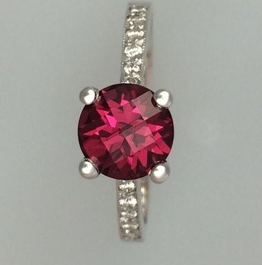 Custom Made Raspberry Red Rhodolite Garnet & Diamond Ring - 14k White Gold - Alternative Engagement Ring