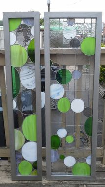 "Custom Made Stained Glass Set Of Swiveling Room Dividers - ""Silver & Greens"" (W-71)"