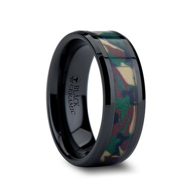 Custom Made Ranger Beveled Black Ceramic Wedding Ring With Real Military Style Jungle Camo - 6mm - 10mm