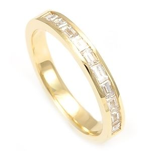Custom Made Baguette Diamond Half Eternity Ring