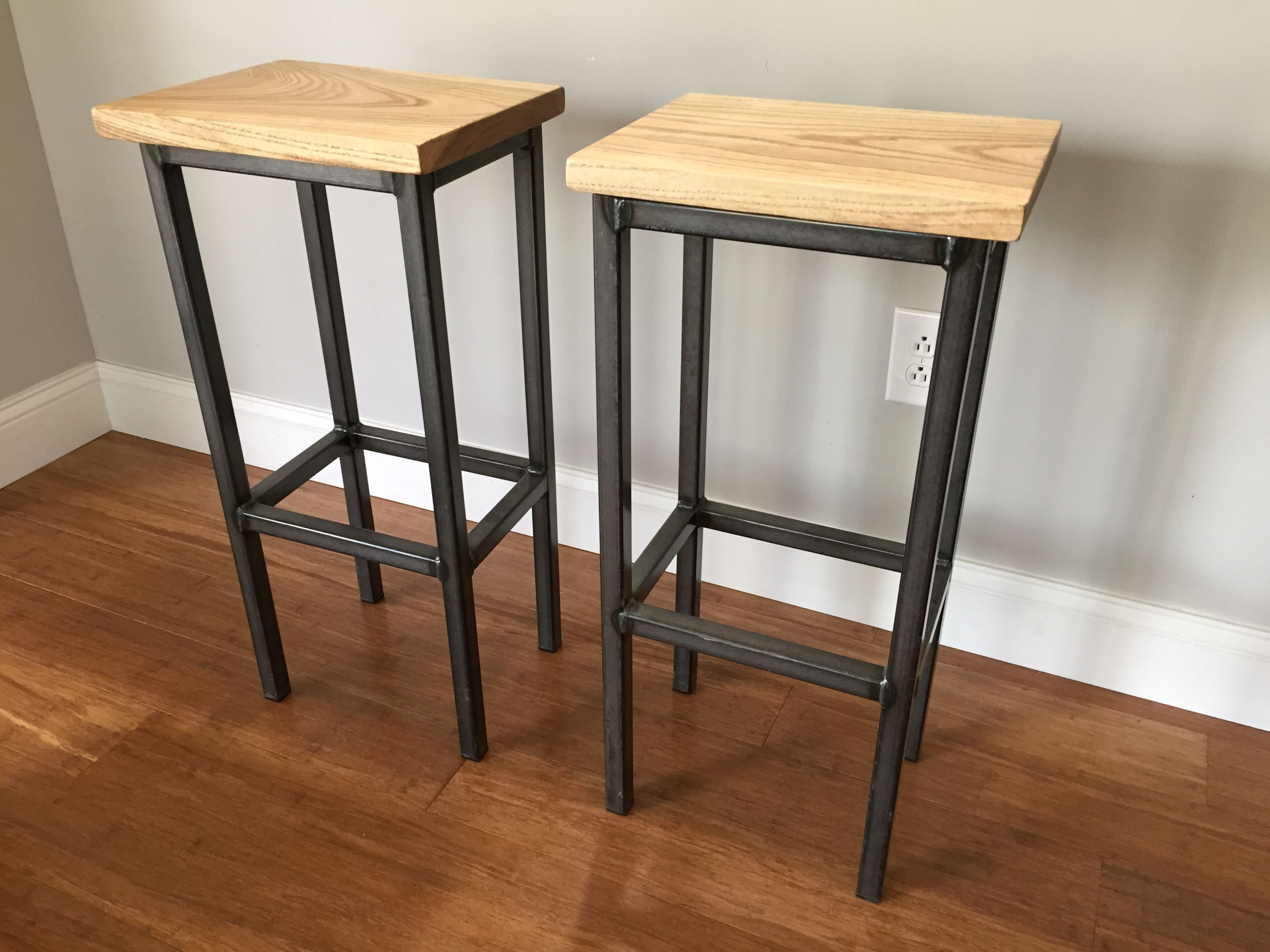 Hand Crafted Black Ash Wood Bar Stools W/Steel Frame - Handmade In ...