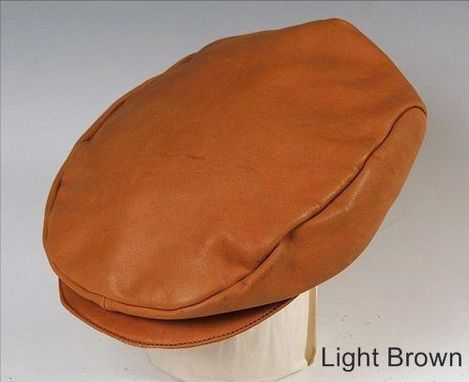 Custom Made Light Brown Leather English Cap