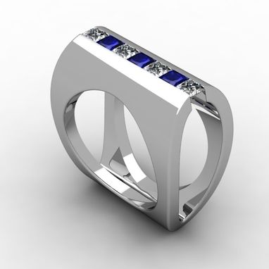 Custom Made Square Sapphire And Diamond Ring