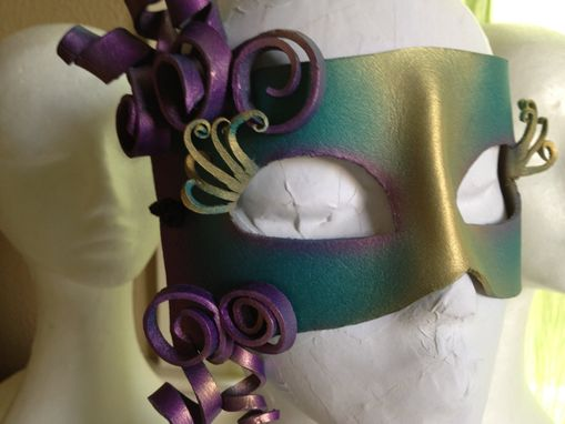 Custom Made Ooak Teal Leather Mask With Purple Curls And Gold Eyelashes