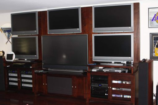 Custom Made Custom Plasma Cabinet In Mahogany Wood