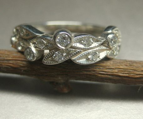Custom Made Leaf Engagement Ring, Wedding Ring. 14k White Gold Leaves With Diamonds