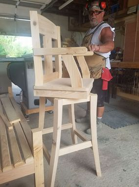 Custom Made Cypress Swivel Bar Stools