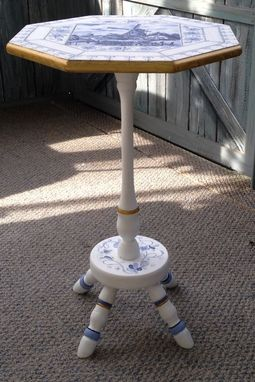 Custom Made Delft Pedistal Table Painted With Faux Tiles