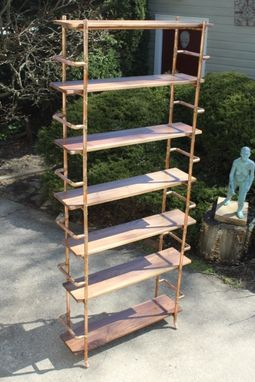 Custom Made Walnut & Copper Pipe Bookshelves