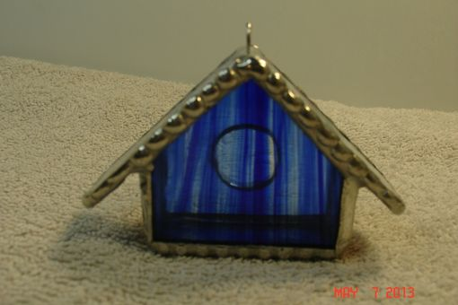 Custom Made Empty Nest Bird House Ornament In Striped Colbalt Blue With Green / Pink Roof