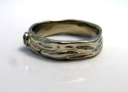 Custom Made Mens Unique Wedding Ring Band -Eternal Flame Design & Black Diamond Handmade 14k White Gold