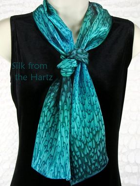 Custom Made Teal Green/Turquoise Silk Scarf Gift For Women