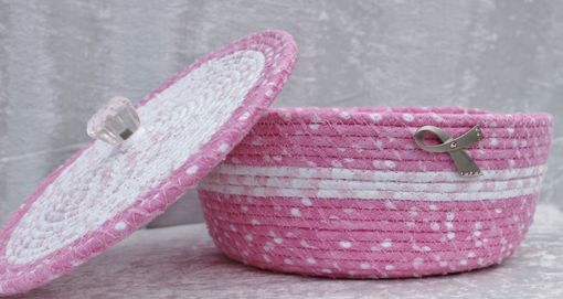 Custom Made Fabric Bowl With Lid - Fabric Art - Coiled - Medium Round - Breast Cancer Awareness