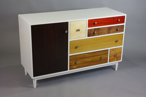 Custom Made White Maple Dresser With Exotic Door And Drawer Fronts