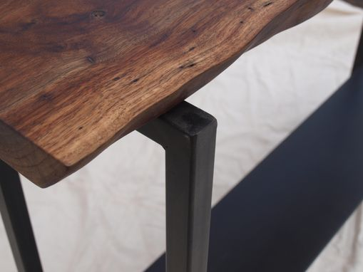 Custom Made Live Edge Walnut Console Table With Steel Base & Shelf