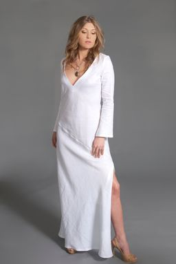 Custom Made Fine Linen White Tunic Dress - Women - Spring/Summer - V Neck -