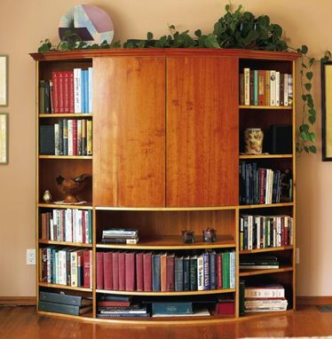 Custom Made Cherry Veneer Home Theater Bookcase