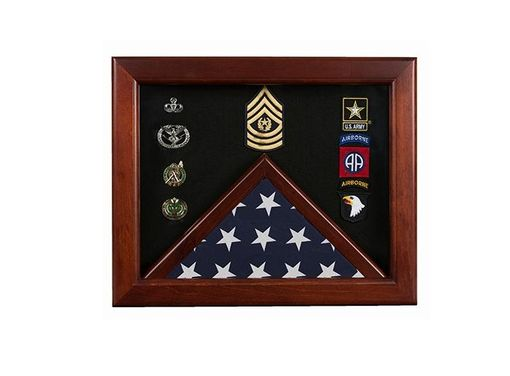 Custom Made Military Flag Medal Display Case, Mahogany Wood For 3x5 Flag