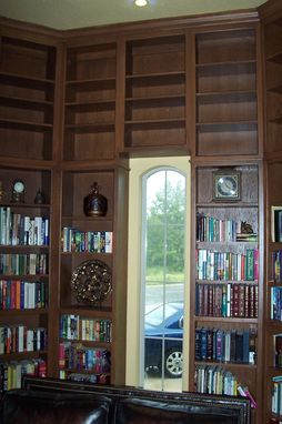 Custom Made Oak Library Bookcases Octagon 2 Story Room
