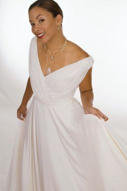 Custom Made Silk Georgette Chiffon Circle Skirt Bridal Gown