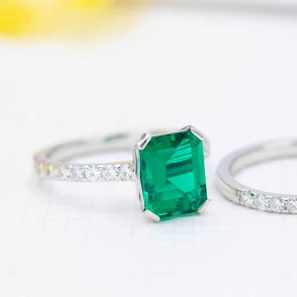 This lab-created emerald has no fractures or inclusions, making it more durable than natural emerald.