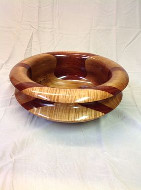 Custom Made Thirteen And One Half Inch Padouk, Maple, Curly Maple Bowl