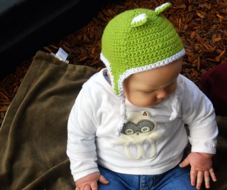 Custom Made Infant Lime Green Wild Things Ear Flap Hat