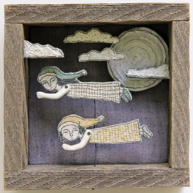 Custom Made Fiber Art Embroidered Barnwood Diorama -Night Flight