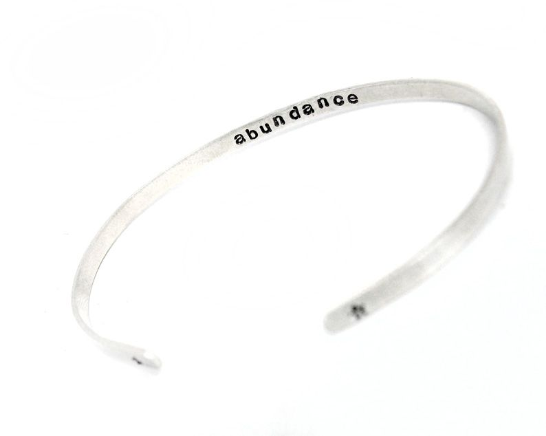 fdff6ed544b Custom Made Secret Message Bracelet - Skinny Sterling Silver Adjustable Cuff  With Stamped Message On The