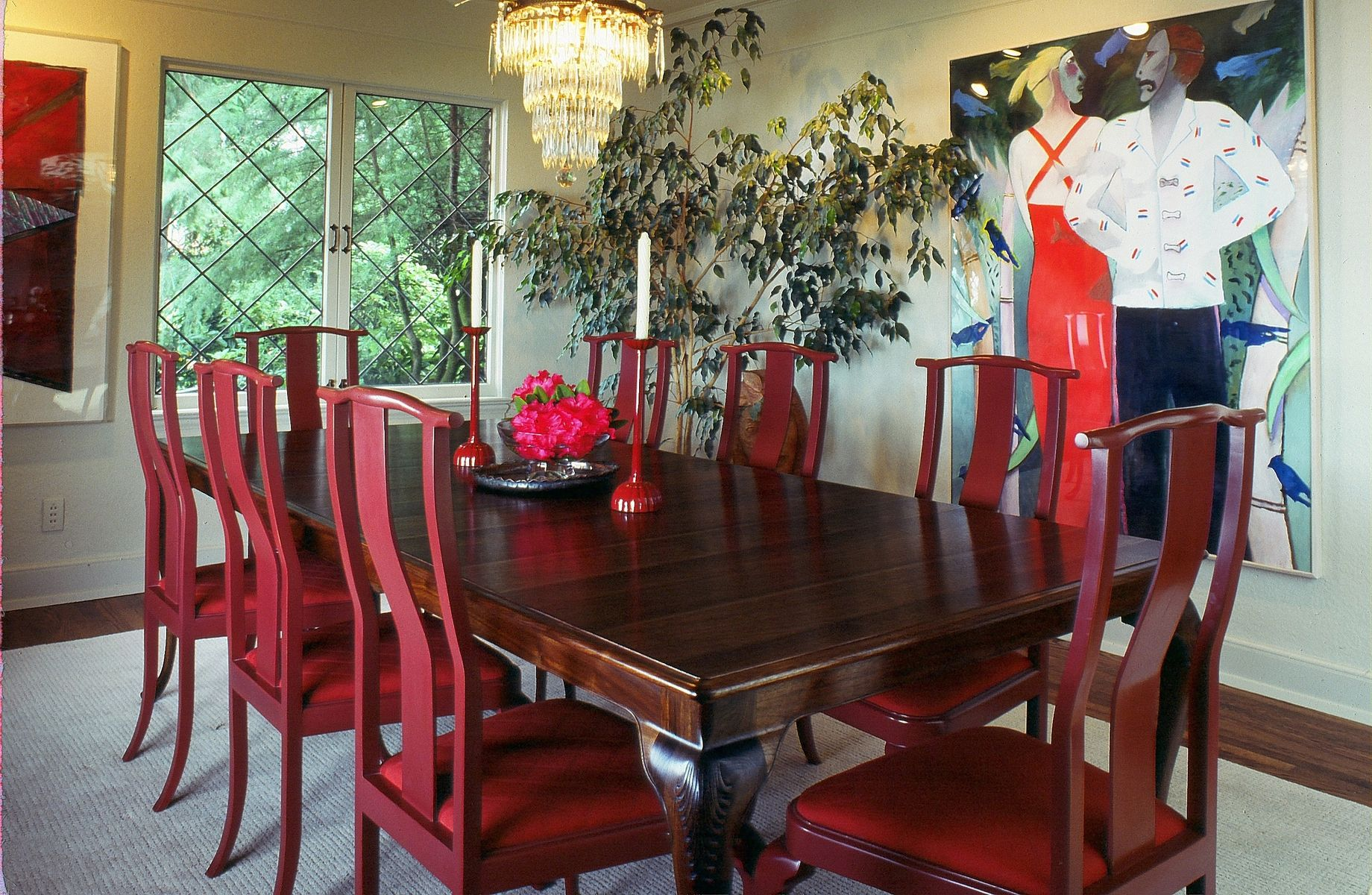 Custom Queen Anne Walnut Dining Table And Chairs By Joel