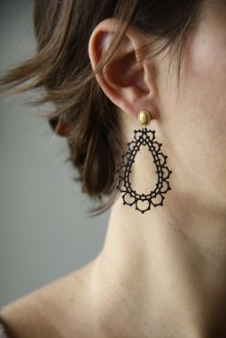 Custom Made Noir Lace Earrings-Black Lace-Gold Lace