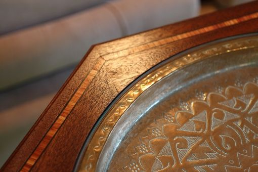 Custom Made Eastern Inspired Octagonal Copper And Glass-Topped Table