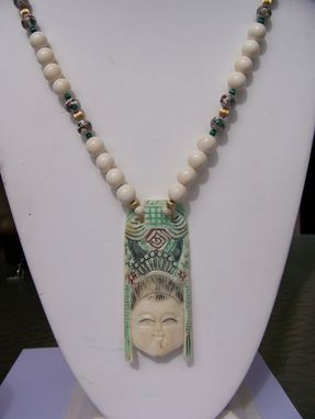 Custom Made Hand Carved & Painted Japanese Lady On Genuine Ivory.Cloissene, Green Malachite, Gold Ivory Beads.