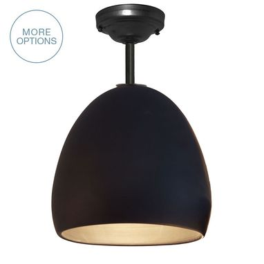 Custom Made Porcelain Ceramic Matte Black Clay Pendant Light- Black Downrod