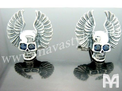 Custom Made Sterling Silver Flying Skull With Wings & Sapphire Eyes Cufflinks