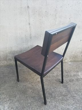 Custom Made Modern Industrial Steel And Wood Dining Chair