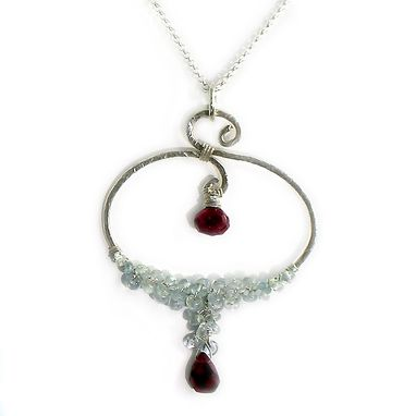 Custom Made Silver Pendant Necklace - Aquamarine And Garnet Gemstones