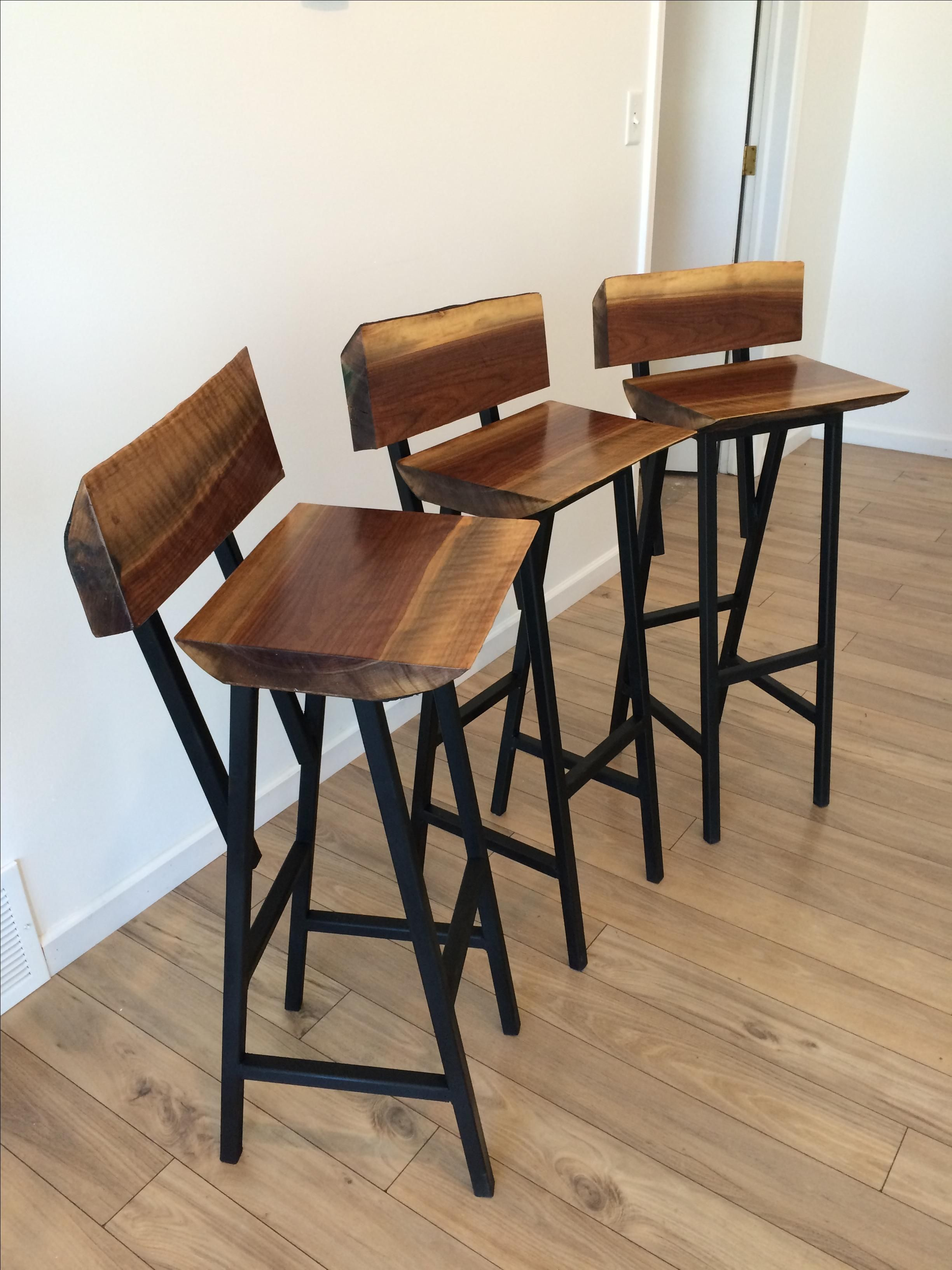 Buy A Custom Made Live Edge Industrial Bar Stool Made To