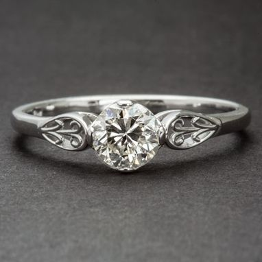 Custom Made Floral Engagement Ring Art Deco Vintage Style Solitaire