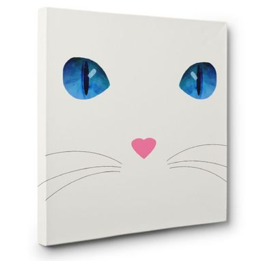 Custom Made White Cat Canvas Wall Art