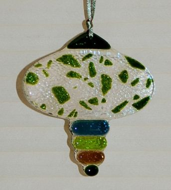 "Custom Made ""Green/Brown Orb"" Fused Glass Christmas Ornament"